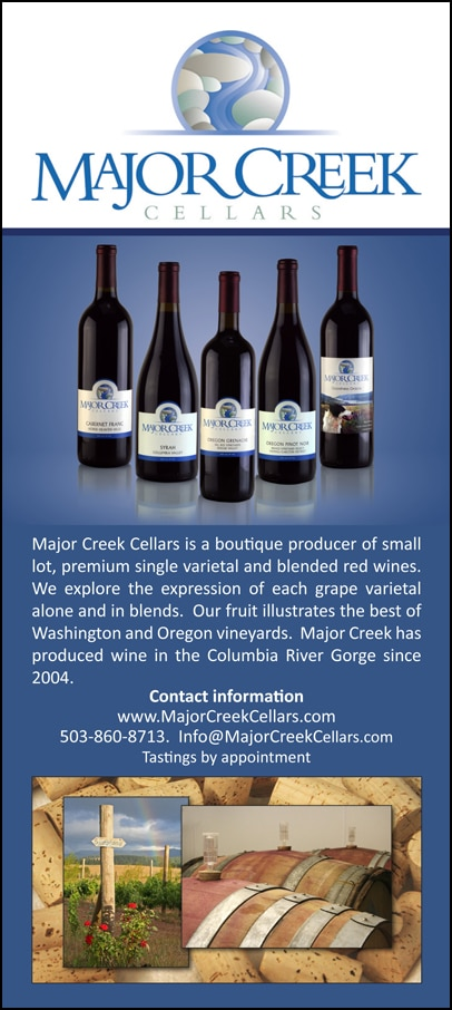 Major Creek Cellars Rack card -1