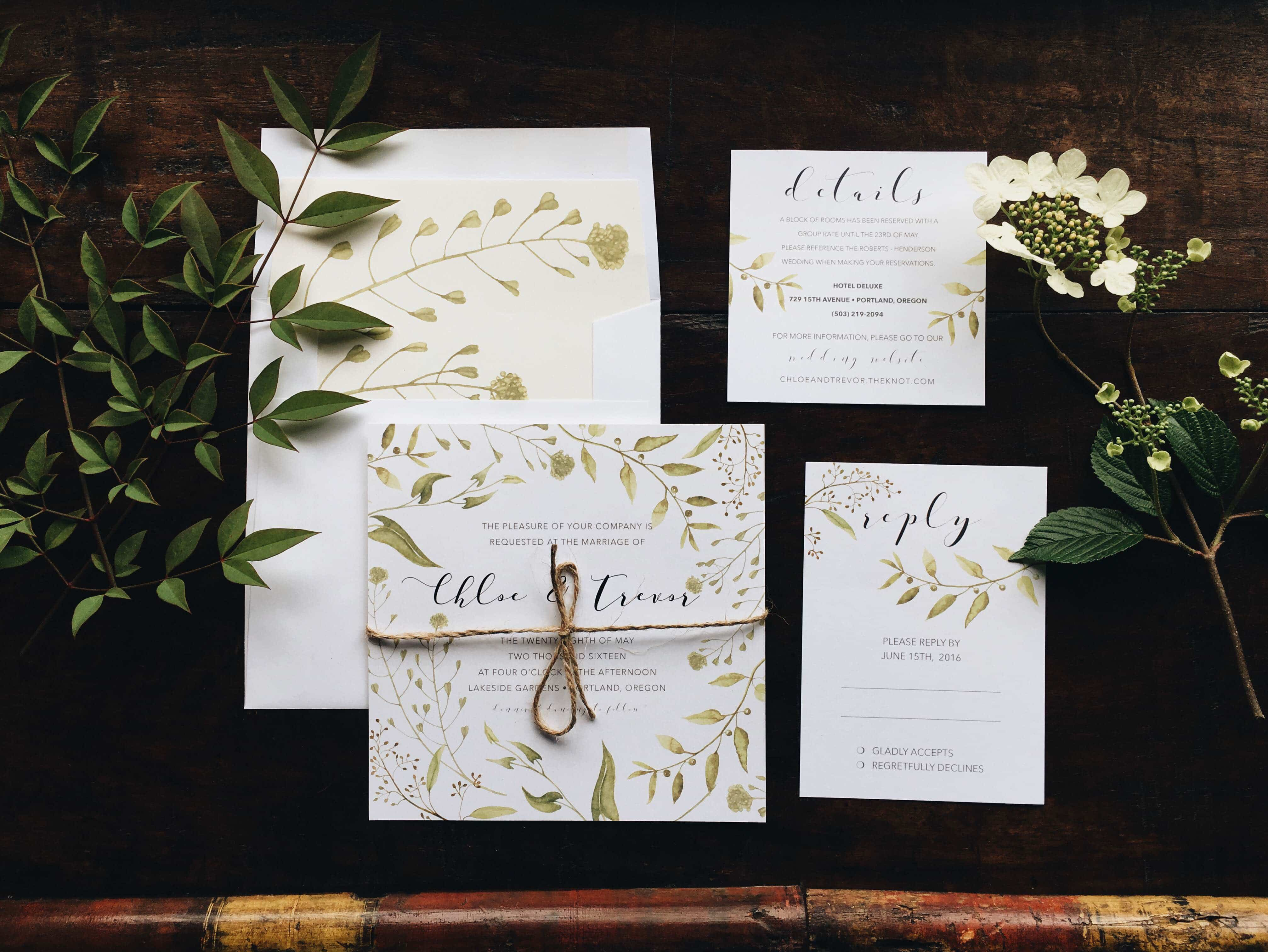 Botanical Bliss Wedding Invitation Suite Printed On 100 Cover Weight PC100 And Wrapped Together With A Sweet Little Piece Of Twine