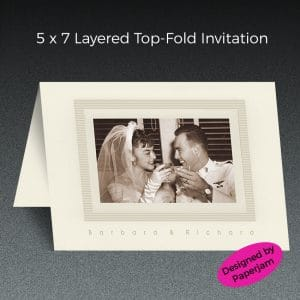 Printed on ivory stock and double-layered with a matte layer sandwiched by a photo on the top layer, this elegant anniversary party invitation is printed and assembled in our shop in NE Portland. With custom designed cards, you'll get exactly the right look..