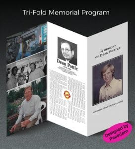 Expediency is a necessity when it comes to memorial progams. Paperjam's quick turn arounds make it possible to see proofs before we print. Upload photos and text and we'll do the rest.