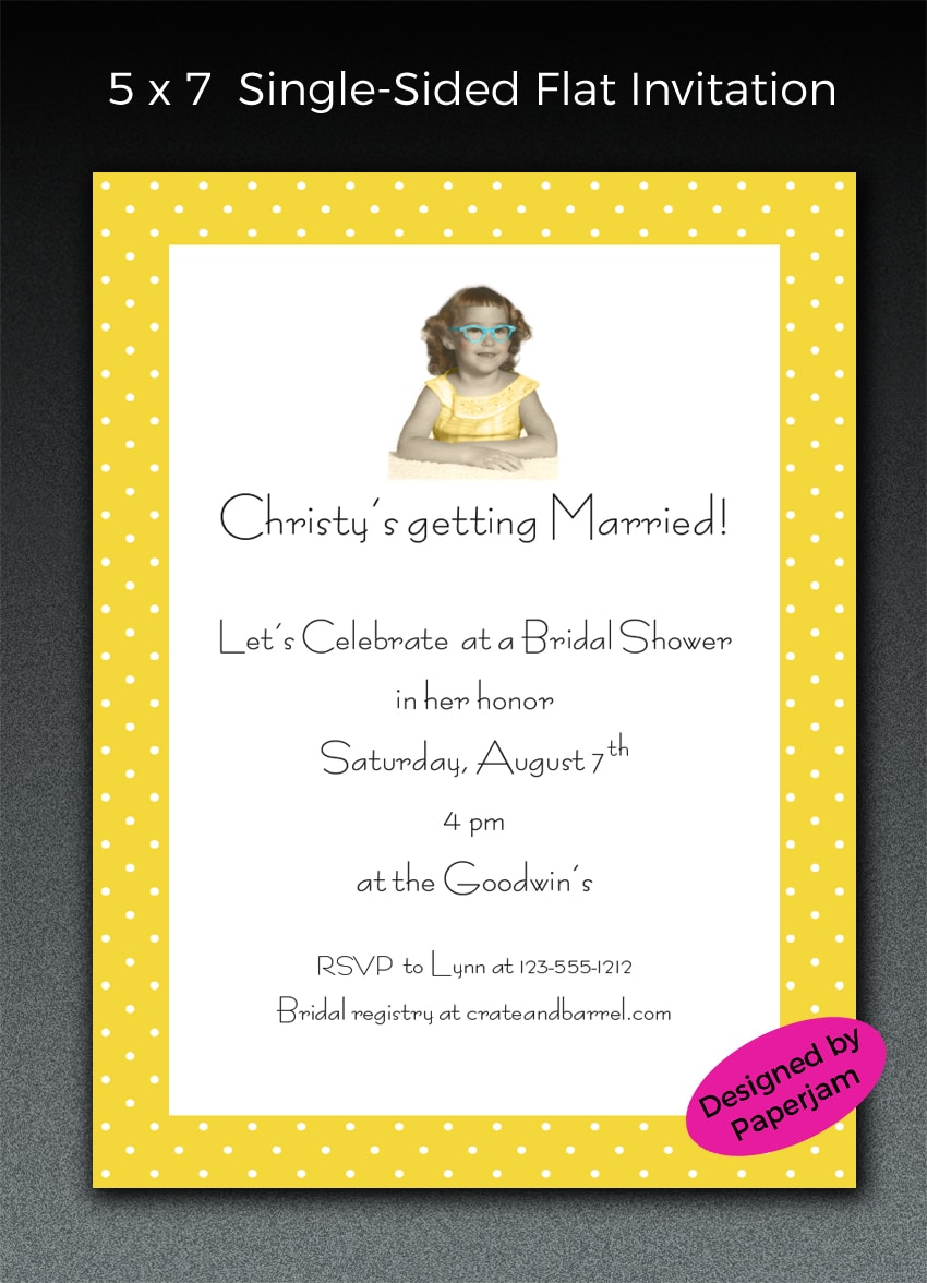 A collaboration between customer and Paperjam resulted in this cute bridal shower invitation. We Photoshopped the image, removing the background and colorizing.