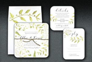 Printed on 100% recycled paper, this botanical invitation suite is the perfect invitation for an outdoor wedding or for the nature lover.
