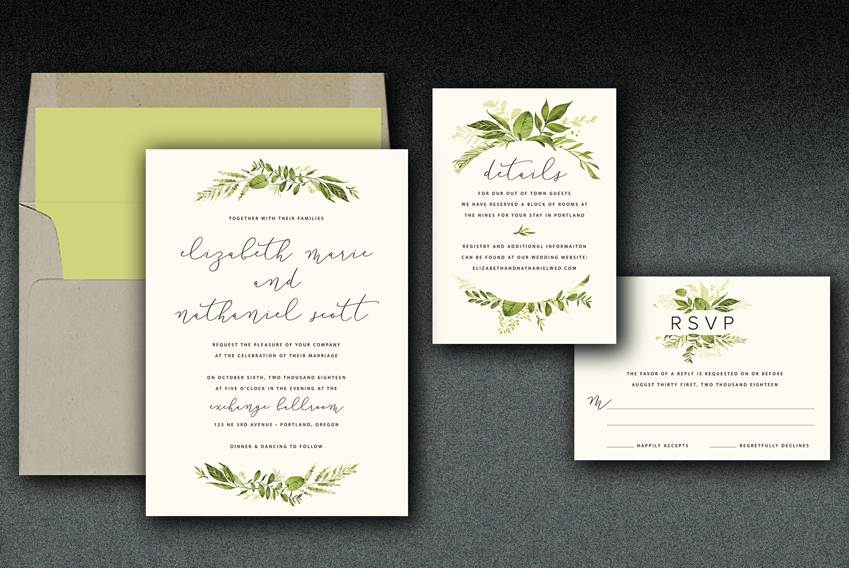 This suite is printed on ivory linen paper complimented with a kraft envelope with either a floral or solid green liner