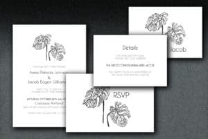 Printed on white linen paper, these wedding invitations have a leaf motif printed on matching linen envelopes.