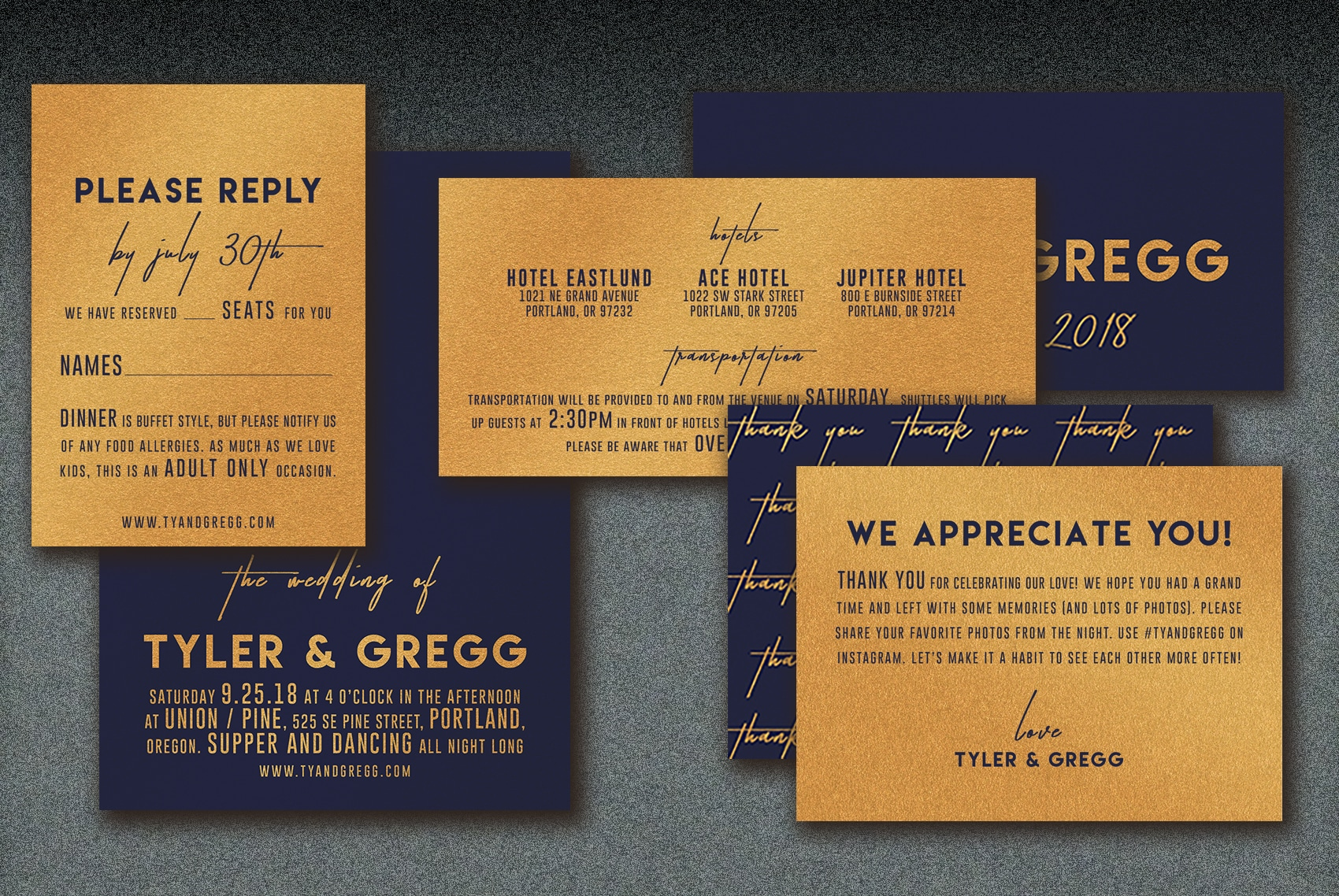 Printed on copper metallic paper, this handsome wedding suite has a unique designerly appeal with it's combination of block and hand written script lettering.