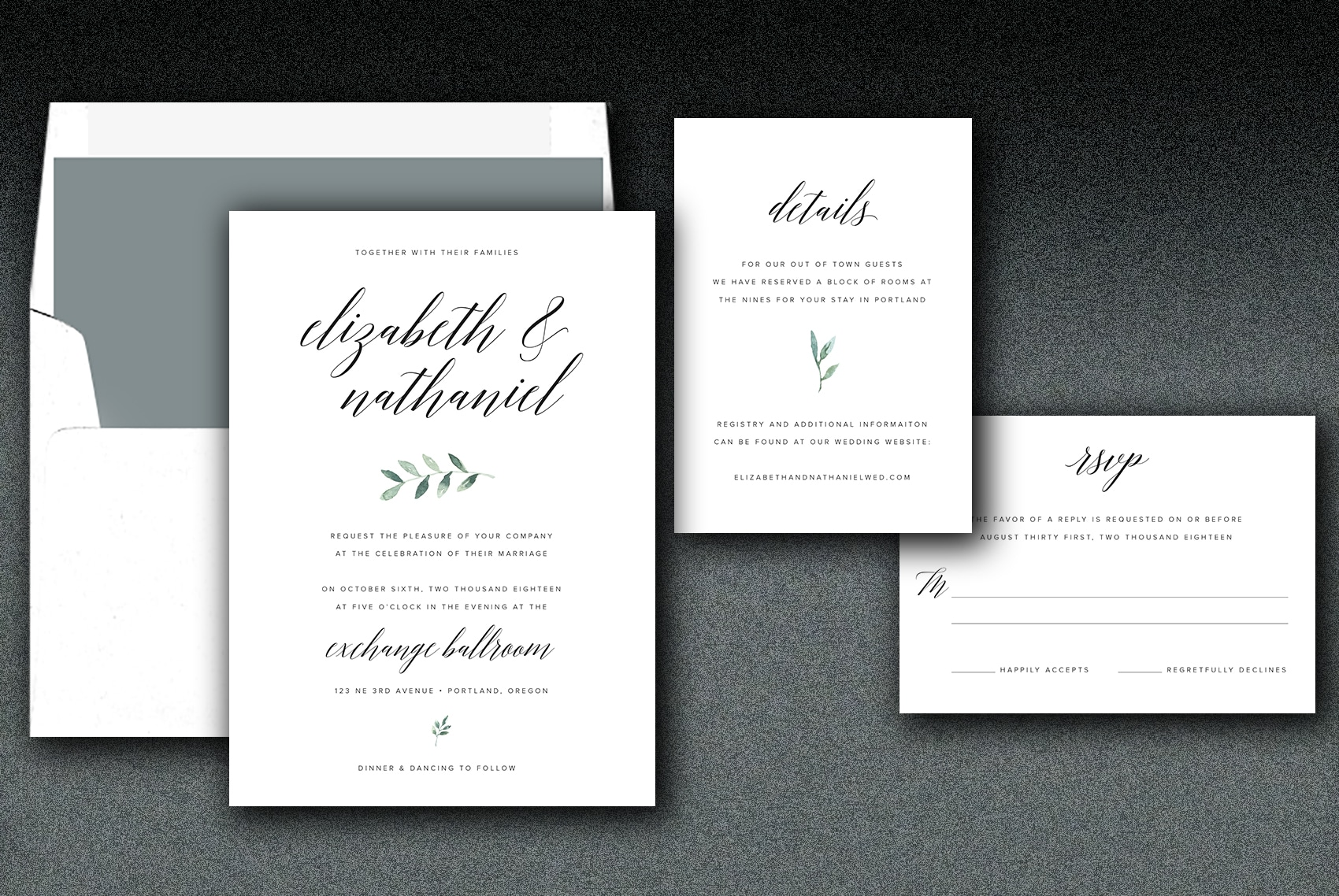 This wedding suite is printed on white linen paper and matching linen envelope. Choose either a solid or greenery liner.