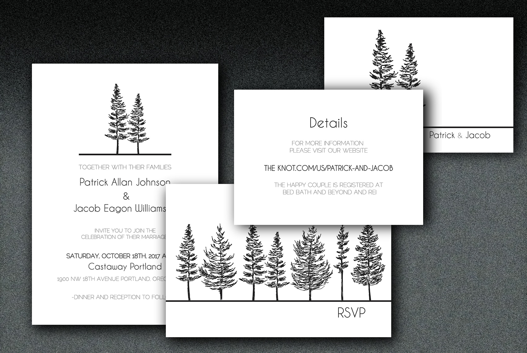 Printed on white linen paper, these wedding invitations have a tree motif printed on matching linen envelopes..