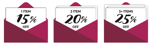 1 items is 15% off, 2 items are 20% off, 3+ items are 25% off
